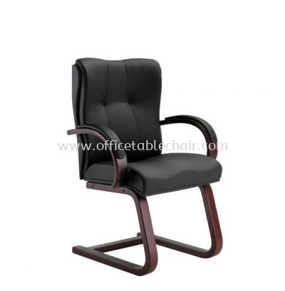 CORE DIRECTOR VISITOR LEATHER CHAIR WITH RUBBER-WOOD WOODEN CANTILEVER BASE