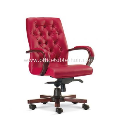 URBAN DIRECTOR MEDIUM BACK LEATHER CHAIR WITH RUBBER-WOOD WOODEN BASE