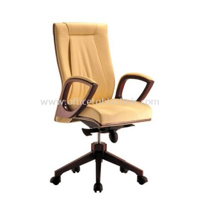 JESSI DIRECTOR MEDIUM BACK LEATHER CHAIR WITH WOODEN TRIMMING LINE