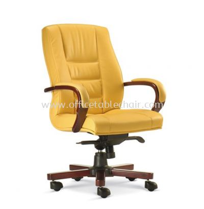 VIERA DIRECTOR MEDIUM BACK LEATHER CHAIR WITH RUBBER-WOOD WOODEN BASE