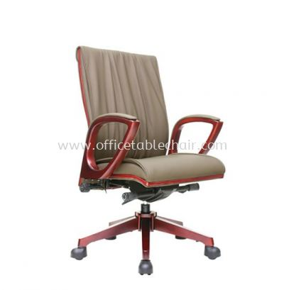 VITTA2 DIRECTOR MEDIUM BACK LEATHER CHAIR C/W WOODEN TRIMMING LINE