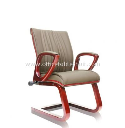 VITTA2 DIRECTOR VISITOR LEATHER CHAIR C/W WOODEN TRIMMING LINE