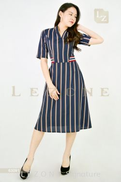 63091 STRIPED A-LINE MIDI DRESS【30% 40% 50%】