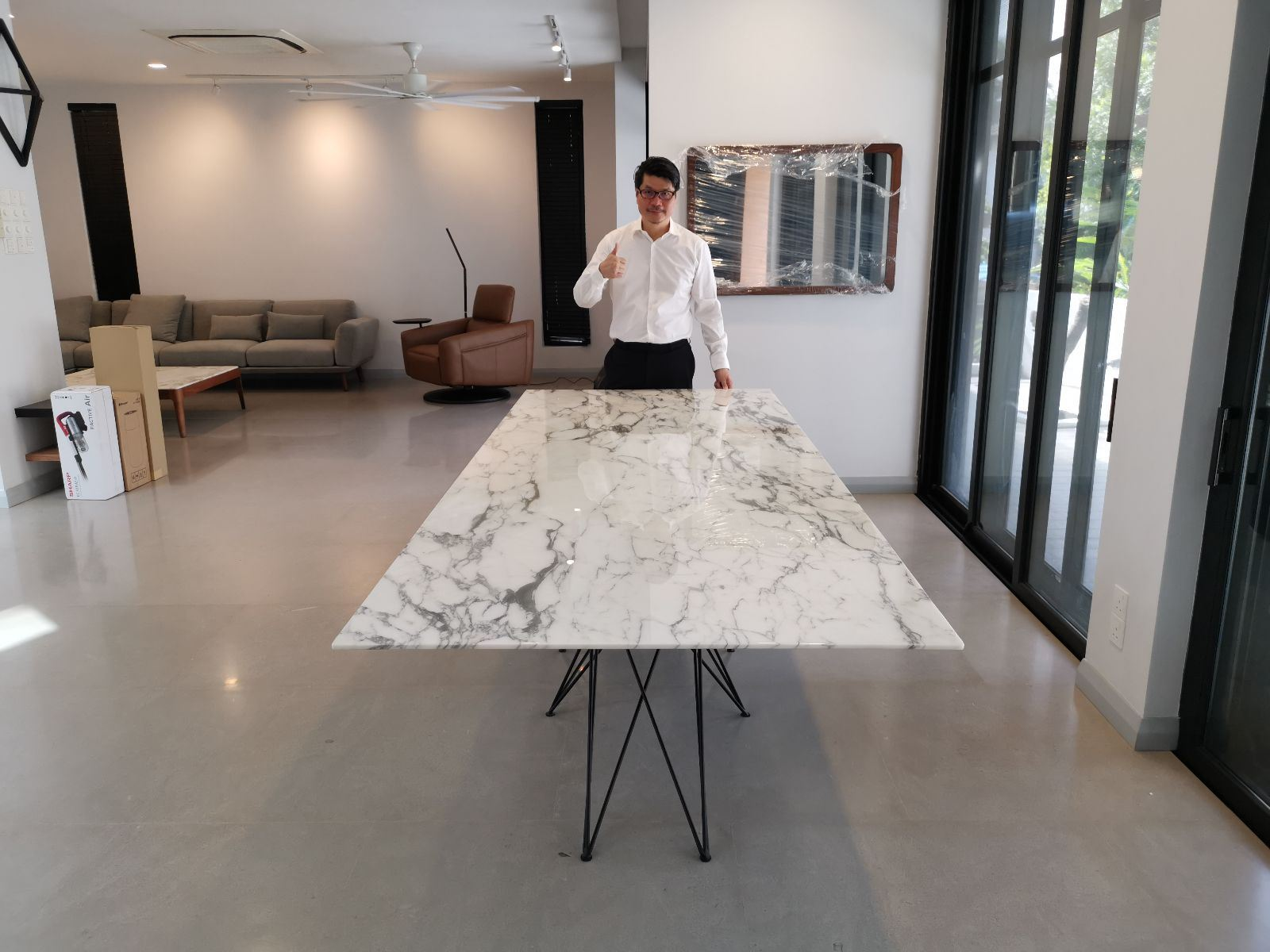 White Marble Dining Table From Italy - Arabescato Corchia Marble