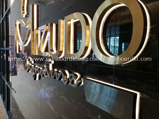 Mizudo 3D stainless steel Glod Box up lettering LED backlit indoor signage at USJ Sunway pyramid subang Jaya Kuala Lumpur