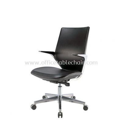 F2 MEDIUM BACK LEATHER CHAIR WITH ALUMINIUM DIE-CAST BASE F2 MB