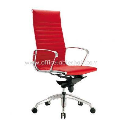SEFINA EXECUTIVE HIGH BACK LEATHER CHAIR UPHOLSTERY WITH CHROME BODY FRAME