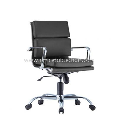 SEFINA(P1) EXECUTIVE LOW BACK LEATHER CHAIR WITH CHROME BODY FRAME