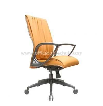 VITTA 3 EXECUTIVE MEDIUM BACK LEATHER CHAIR WITH CHROME TRIMMING LINE