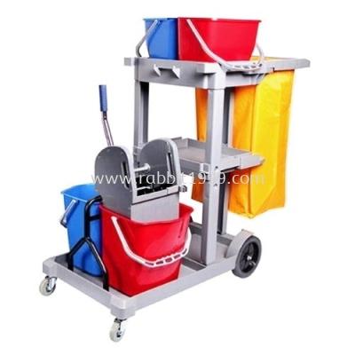 MULTI FUNCTION JANITOR CART c/w wringer bucket, cover, linen bag & top bucket
