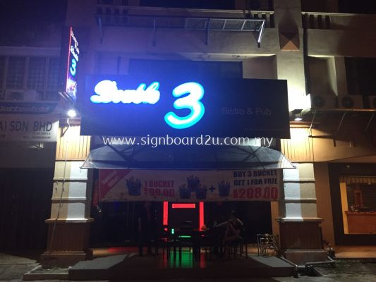 Double 3 Bistro & Pub Acrylic 3D box up LED signage at Puchong