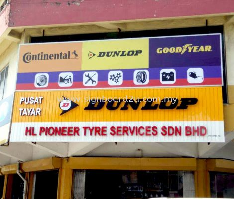 HL Pioneer tyre services sdn bhd Aluminum ceiling Trim Casing Conceal box up 3D lettering signage at port klang