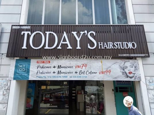 Today's Hair Salon Aluminum ceiling Trim Casing Conceal box up 3D lettering signage at bukit tinggi 2