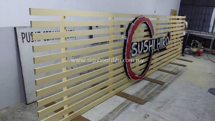 SUSHI HERO Aluminum ceiling Trim Casing Conceal box up 3D lettering signage at sri petaling