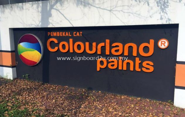 Colurland Paints E.g 3D box up lettering at Semenyih
