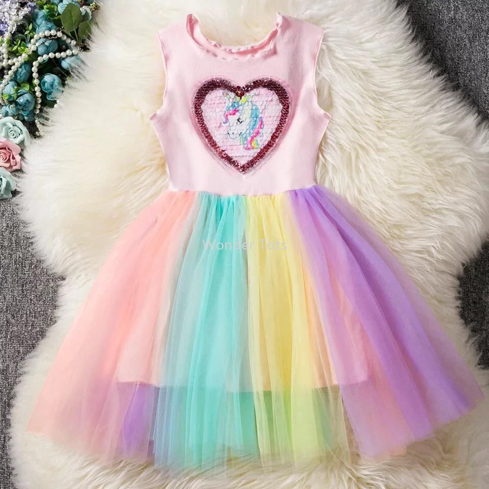 Girls Unicorn Rainbow Casual Dress