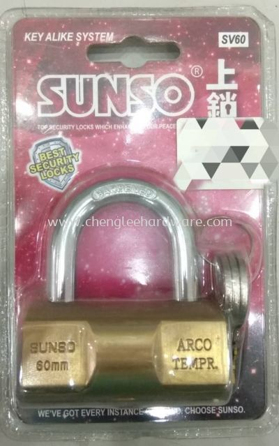 014549 ' SUNSO ' SV60MM  BRASS PADLOCK