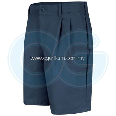 Pleated Front Short (Navy Blue)