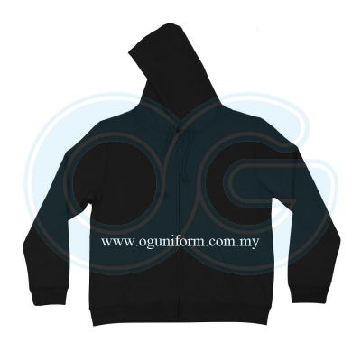 Unisex Long Sleeve Full Zip Hooded Sweatshirt (SS10OS/427) Black(02)