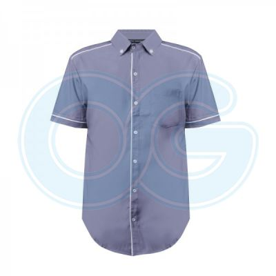 Unisex Short Sleeve Shirt (NHB17M-445) (Lavender/White)