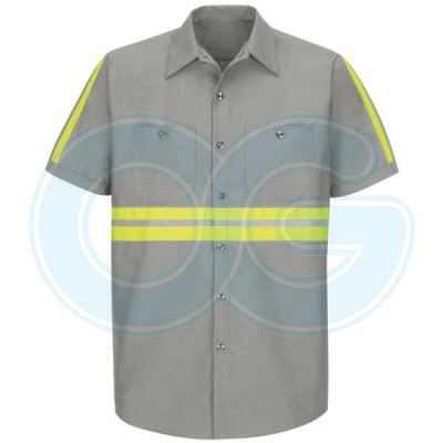 Enhanced Visibility Industrial Work Shirt(2 Reflective) Grey