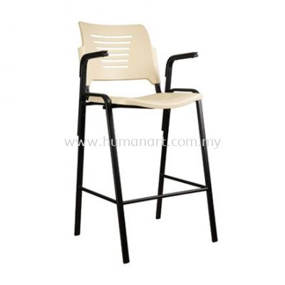 AEXIS PP STOOL CHAIR C/W ARMREST & 4 LEGGED EXPOY BLACK METAL BASE ACL 56-9H+A05)