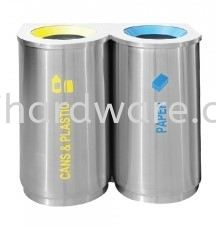 Stainless Steel Recycle Bin - Round 2 in 1 Stainless Steel Rubbish Bin Hygiene and Cleaning Tools