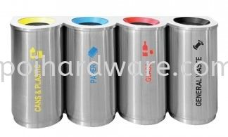 Stainless Steel Recycle Bin - Round 4 in 1 Stainless Steel Rubbish Bin Hygiene and Cleaning Tools