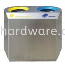 Stainless Steel Recycle Bin - Flat 2 in 1 Stainless Steel Rubbish Bin Hygiene and Cleaning Tools