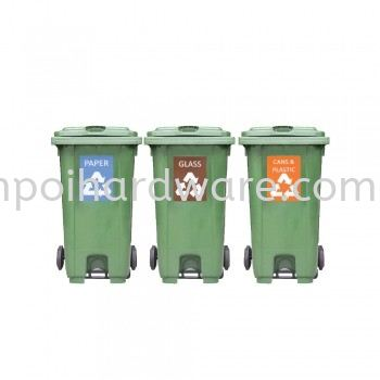 Recycle Mobile Garbage Bin With Pedal Rubbish Pail Hygiene and Cleaning Tools