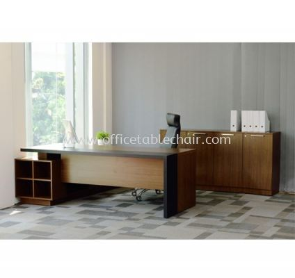 PARCO EXECUTIVE DIRECTOR OFFICE TABLE C/W WOODEN BASE WITH SIDE CABINET & MEDIUM OFFICE CABINET SET