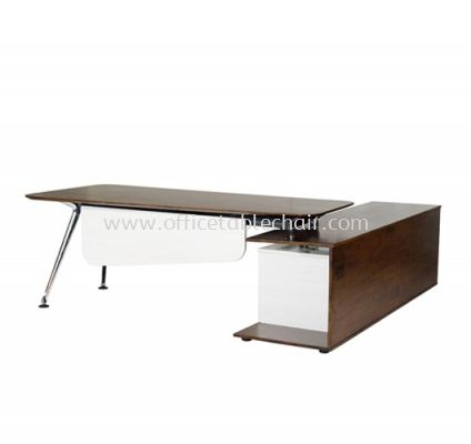 TEZAR EXECUTIVE DIRECTOR OFFICE TABLE WITH SIDE CABINET - FRONT (MATERIAL RUBBER WOOD��