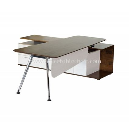 TEZAR EXECUTIVE DIRECTOR OFFICE TABLE WITH SIDE CABINET ��MATERIAL RUBBER WOOD TOP��