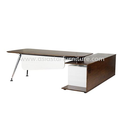 TEZAR EXECUTIVE DIRECTOR OFFICE TABLE WITH SIDE CABINET FRONT ( MATERIAL RUBBER WOOD ) - Top 10 Best Model Director Office Table | Director Office Table Cheras | Director Office Table Ampang | Director Office Table Sungai Besi