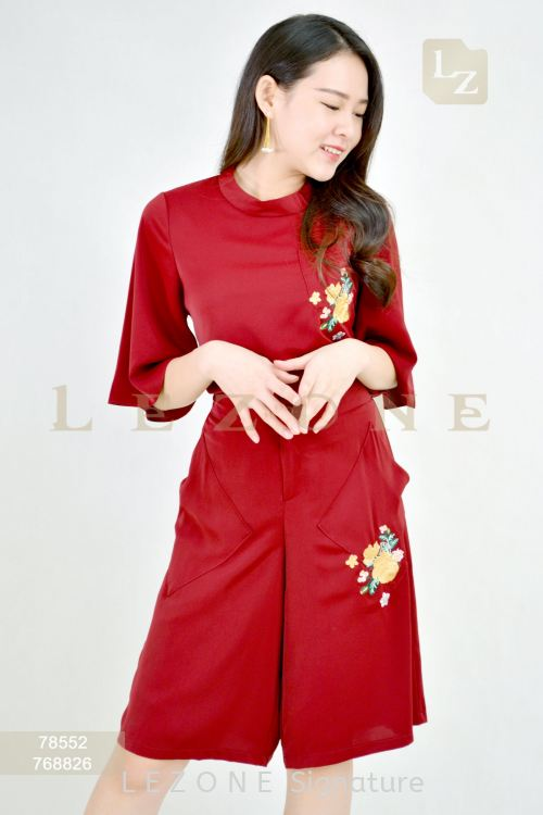 78552 PLUS SIZE EMBROIDERED BELL SLEEVE BLOUSE 【2nd pcs onwards 50%】