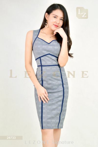 28733 Plaid Bodycon Dress��2nd pcs onwards 50%��