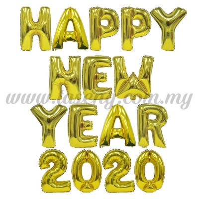 Happy New Year 2020 Gold - 16pcs (FB-HNY2020-16GO)
