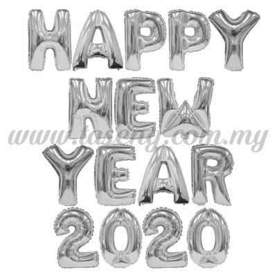 Happy New Year 2020 Silver - 16pcs (FB-HNY2020-16SI)