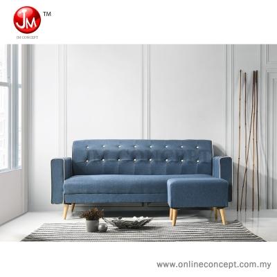 JM Concept CS2 Pansy Sofa Set 3 Seater + Stool (Solid Wood Leg) Blue