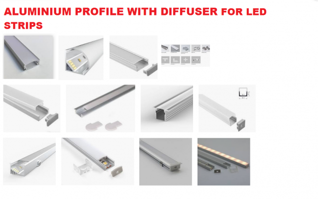 ALUMINIUM PROFILE FOR LED STRIPS PHILIPS BGC, TRIDONIC LLE, OSRAM