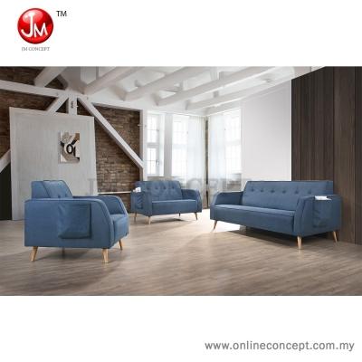 JM Concept CS4 Patchy Sofa Set 1+2+3 Seater (Solid Wood Leg & Pocket Design) Blue