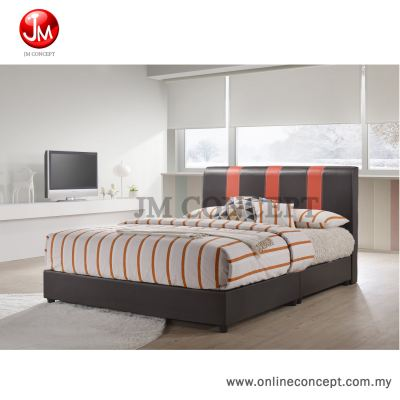 JM Concept Mix Queen Size Divan Bed (Brown + Red)
