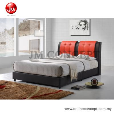 JM Concept Blossom Queen Size Divan Bed (BROWN + RED)