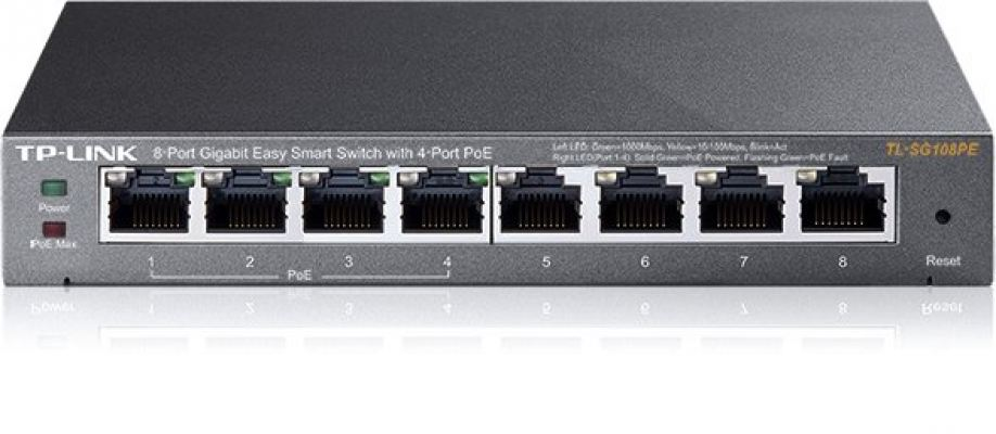 TL-SG108PE V1. TPlink 8-Port Gigabit Easy Smart Switch with 4-Port PoE