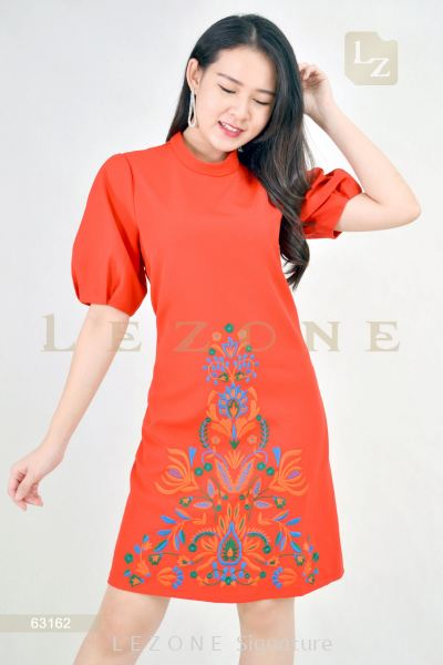 63162 EMBROIDERED PUFF SLEEVE DRESS【1st 10% 2nd 20% 3rd 30%】