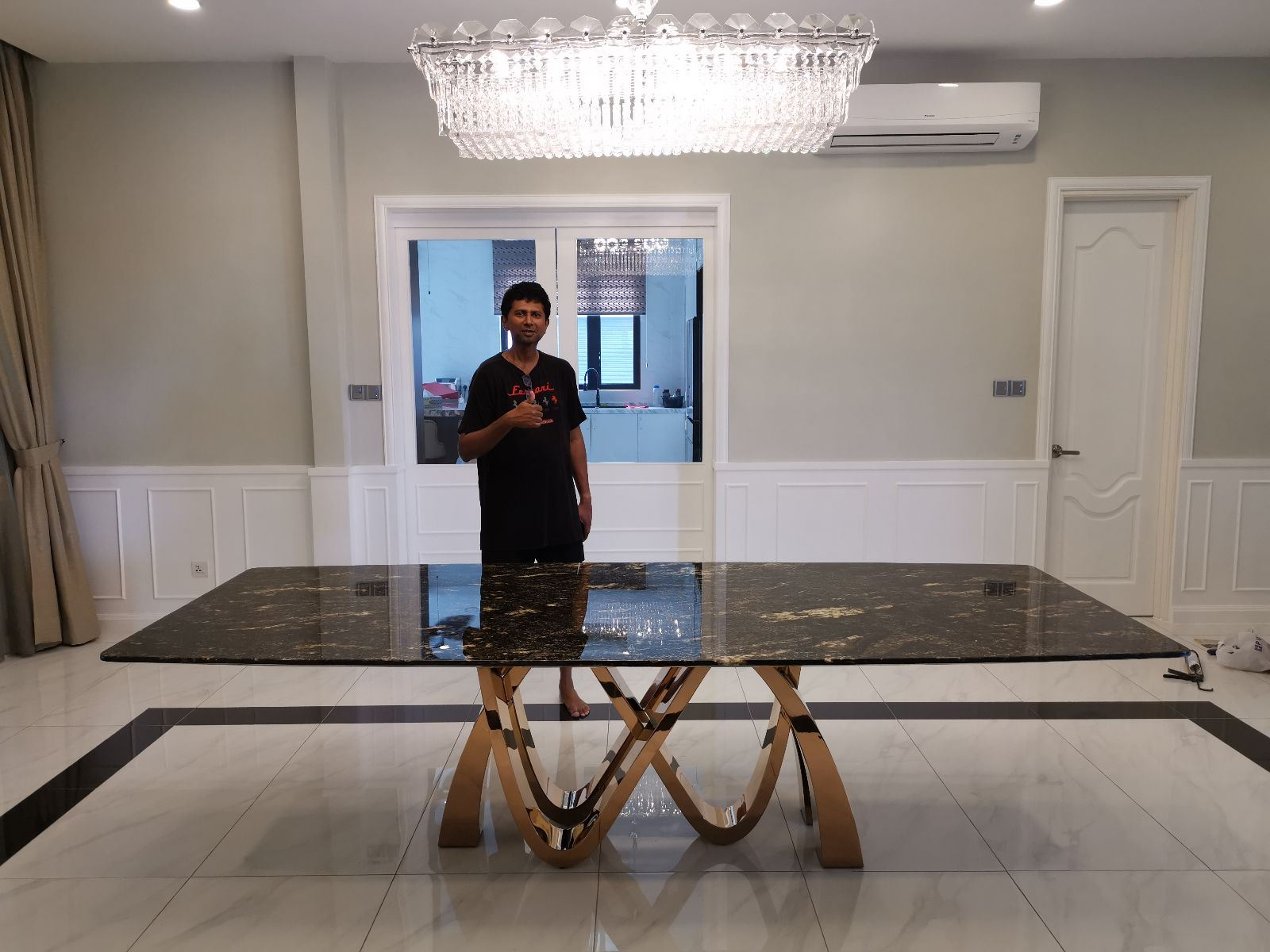 Premium Granite Dining Table From Brazil - Cosmic Silver Granite