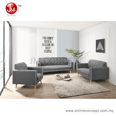 JM Concept CS2 Pansy Sofa Set 1+2+3 Seater (Solid Wood Leg) Blue/Grey/Brown