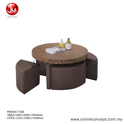 JM Concept Brownies Coffee Table with Stool (Round) Walnut