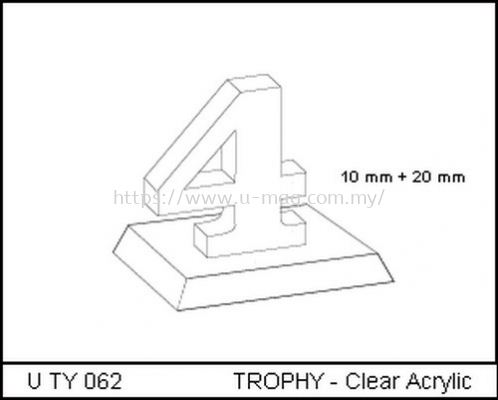 U TY 062 TROPHY - Clear Acrylic