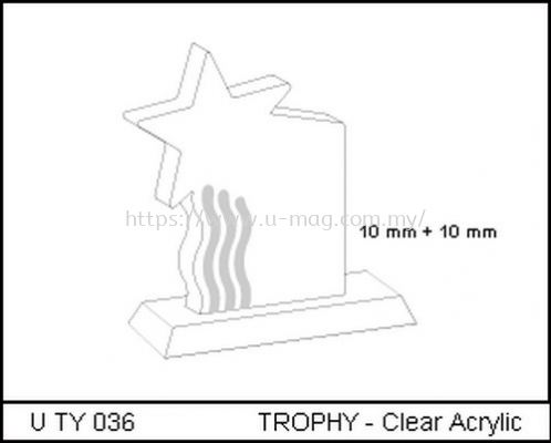 U TY 036 TROPHY - Clear Acrylic